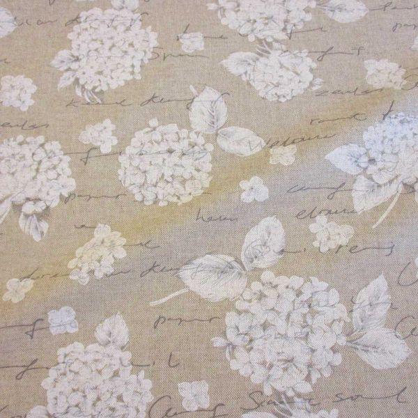 Stoff beschichtet wasserfest Hortensie Handschrift weiss natur grau