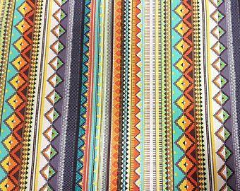 Stoff Baumwolle Meterware grau orange braun Streifen Mexiko