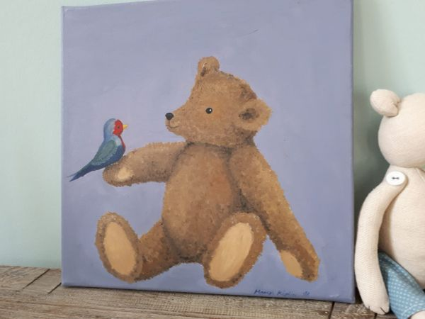 """Bild Öl auf Leinwand Teddy """"Rotkehlchen"""""""