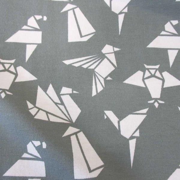 Stoff Meterware Jersey Baumwolle grau Origami Japan weiß Meterpreis Neu Schwan