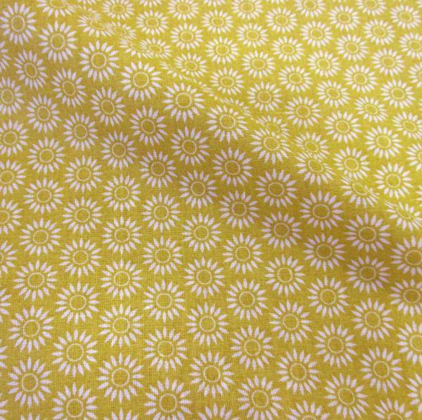 Stoff Baumwolle Blume gelb weiß senfgelb Grafik