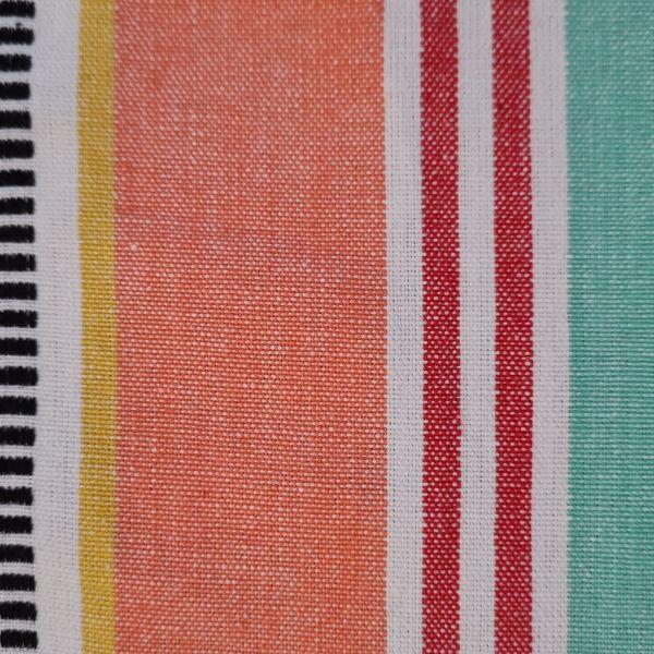 """Stoff Baumwolle """"Luz"""" mint koralle gelb rot weiss Streifen durchgewebt 0,5"""