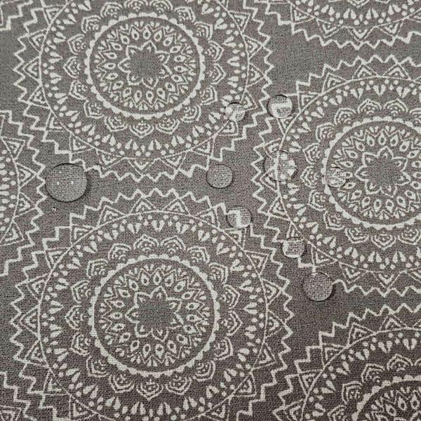 Stoff beschichtet Baumwolle Vehlo Mandala grau ecru 0,5