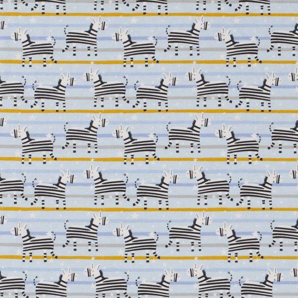 Stoff Meterware Jersey hellblau Zebras und Streifen 0,5