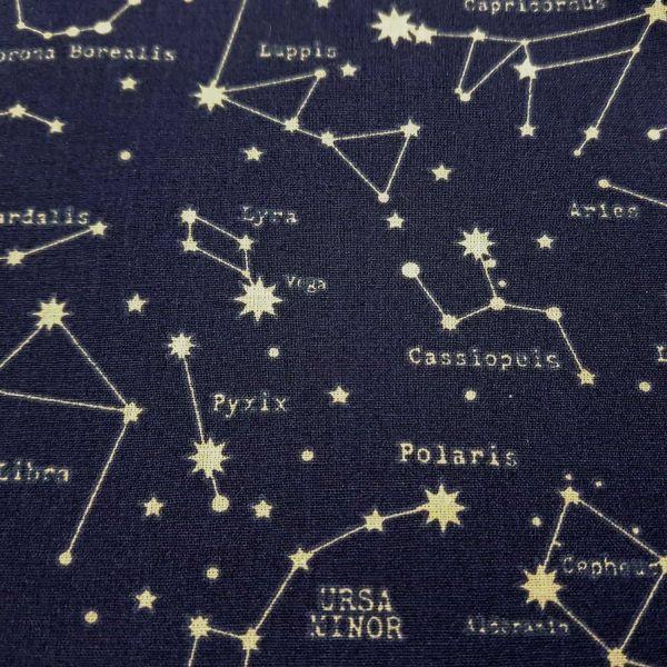 Kurzstück Stoff Baumwolle Sternbild Astronomie Sternenhimmel 0,95m x 1,48m