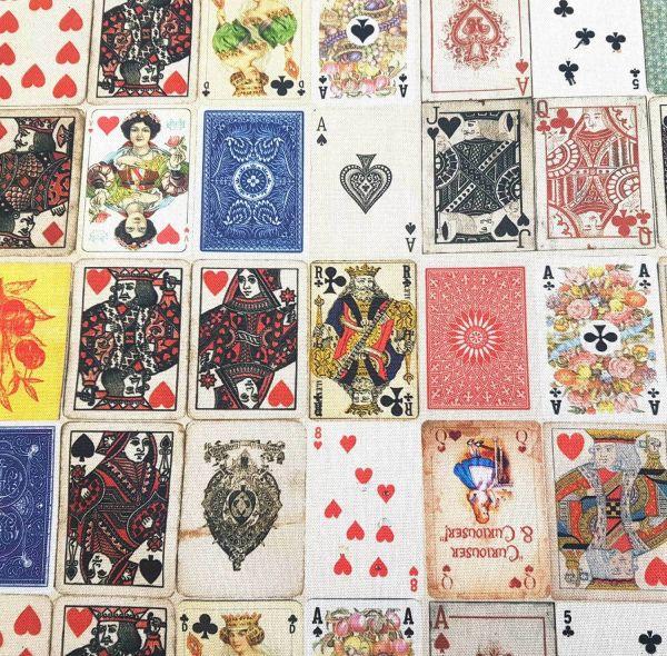Stoff Baumwolle Spielkarten Kartenspiel Bube Dame König As