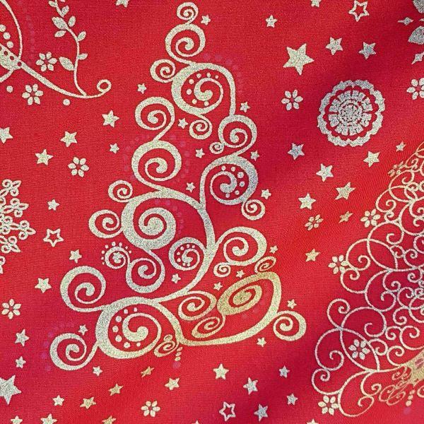 Stoff Meterware Baumwolle rot gold Ornament Weihnachten Weihnachtsstoff Deko