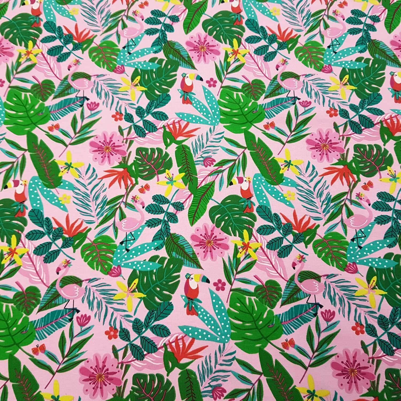 Stoff Meterware Jersey Baumwolle rosa Dschungel Flamingo Meterpreis Kinderstoff