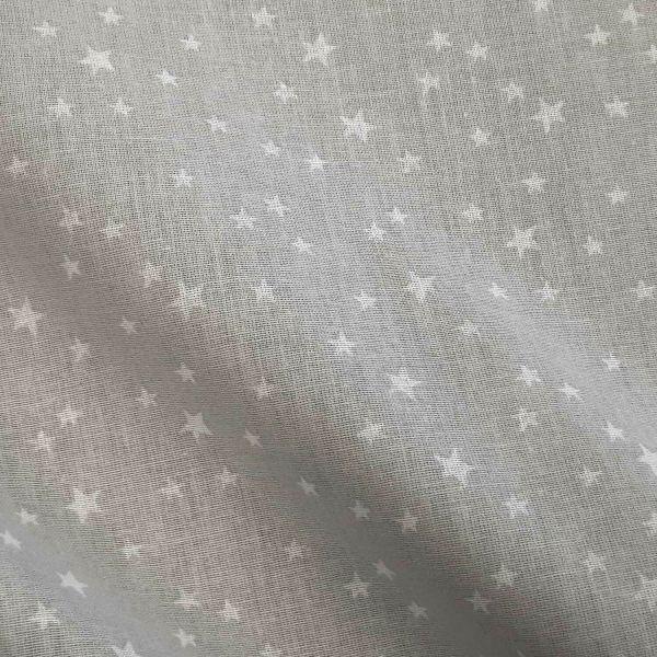 """Stoff Meterware Baumwolle hellgrau Sternchen """"Lilla"""" 0,5"""