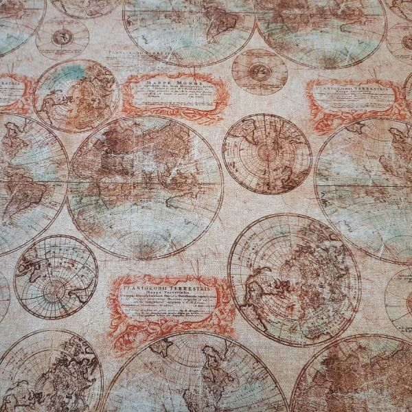 Stoff pflegeleicht Welkarte Globus antik 0,5