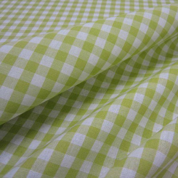 Stoff Baumwolle Bauernkaro hellgrün weiß kariert Karo Meterware 0,5