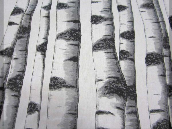 Stoff Baumwolle Meterware Birke Stamm weiß schwarz