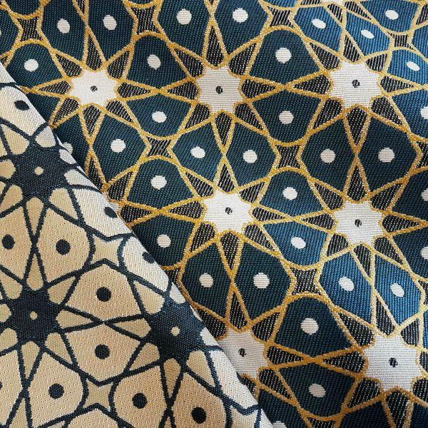 Stoff Meterware Mischgebewe Jacquard Sterne petrol gelb beidseitig Seville 0,5