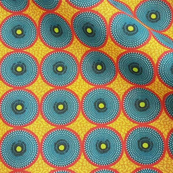 Kurzstück Stoff Baumwolle Batik Kreise petrol rot gelb afrikanisch 0,85m x 1,60m
