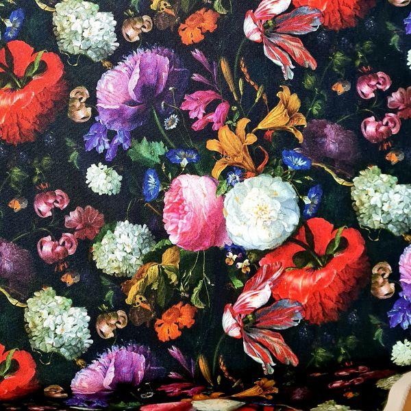 """Stoff Meterware Baumwolle Gemälde """"Alte Meister"""" Blumen schwarz bunt 0,5"""