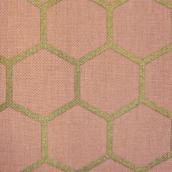 Stoff Baumwolle pflegeleicht Waben lachsrosa gold metallic 0,5