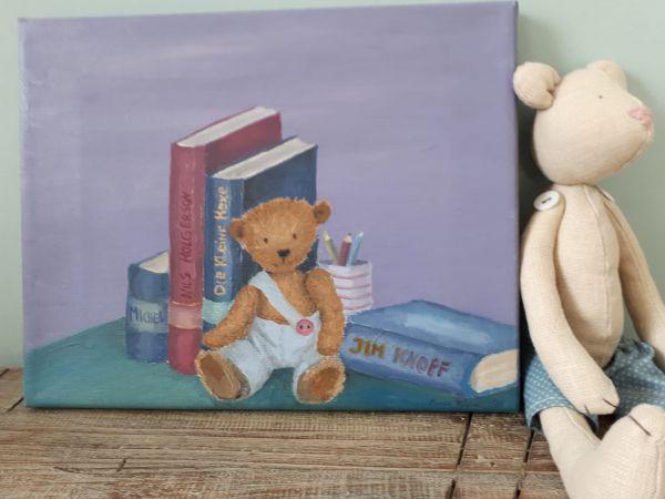 """Bild Öl auf Leinwand Teddy """"Bücher"""""""