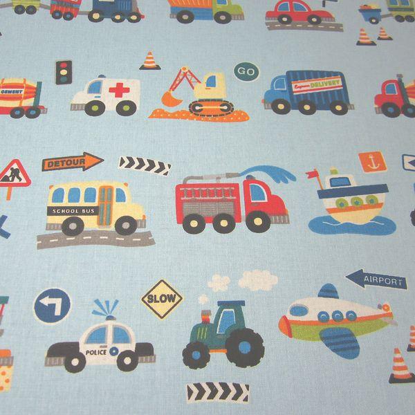 Stoff Baumwolle hellblau Autos Traktor Bagger Neu