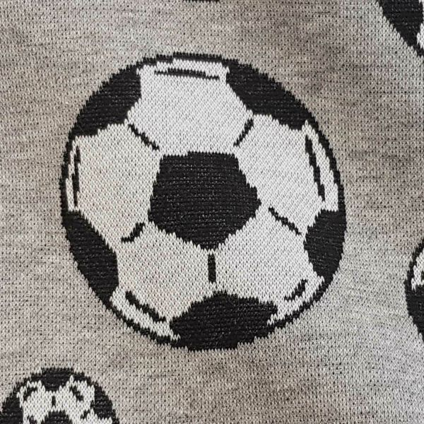 Stoff Meterware Baumwoll Jacquard Jersey Fussball Flanelloptik 0,5