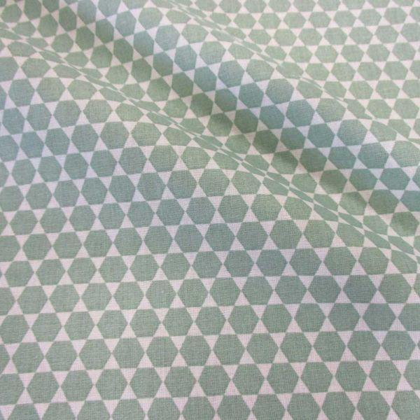 Stoff Baumwolle Sechsecke Pulsar mint weiß Grafik celadon