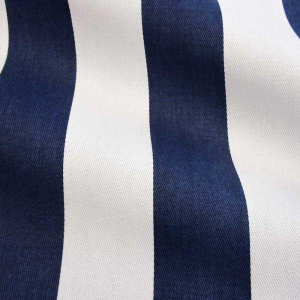 Kurzstück Stoff Baumwollstoff Blockstreifen Kanadastreifen marine/dunkelblau weiß 5cm 0,40m x 1,60m