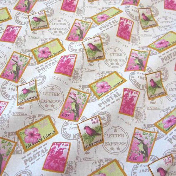 Stoff Briefmarke Stempel Vogel weiß pink Hibiskus