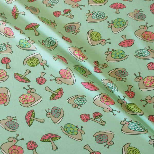 Stoff Baumwolle Jersey Schnecken mint pink grün 180cm breit