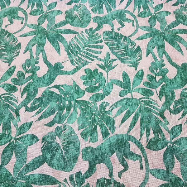 Stoff Meterware Baumwolle grün natur Affen Dschungel Panama stabil Dekostoff Neu