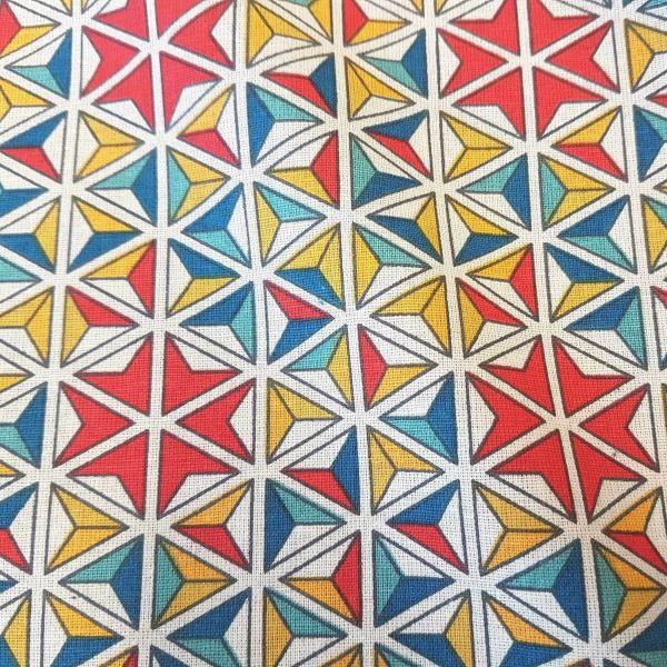 Stoff Baumwolle Grafik Mosaik Kaleidoskop rot blau gelb