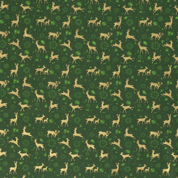 Stoff Meterware Baumwolle dunkellgrün Hirsche Rehe gold 0,5Weihnachtsstoff
