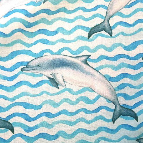 Stoff Baumwolle Percal blau Wellen Delfine 0,5