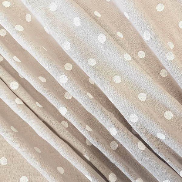 Stoff Meterware Baumwolle Batist beige Punkte weiss