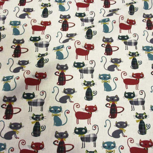 Stoff Baumwolle Stoff Baumwolle Katzen + Karos weiss grau grün türkis