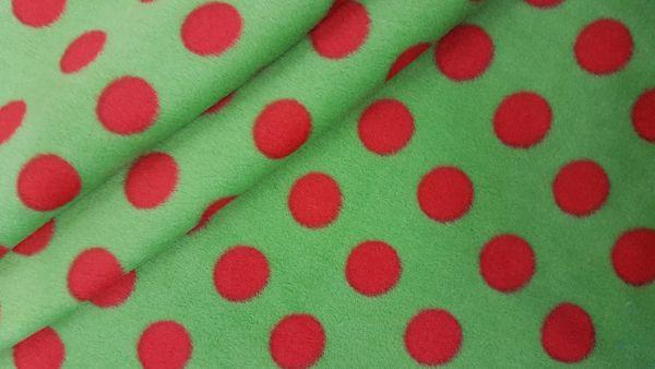 Stoff Meterware Polar Fleece grün rot Punkte weich warm kuschelig antipilling SONDERPREIS
