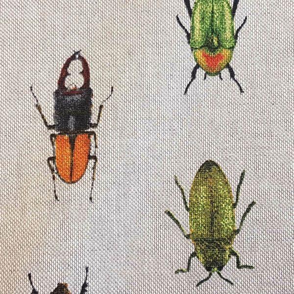 Stoff Baumwollstoff pflegeleicht natur Käfer Skarabäus Hirschkäfer grün 0,5