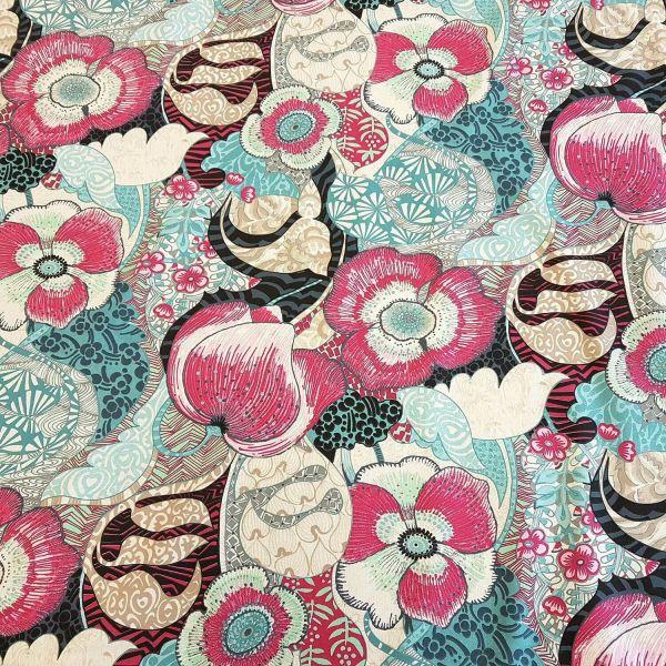 Stoff Meterware Baumwolle Blumen Blüten Mohn pink mint blau Exuberance
