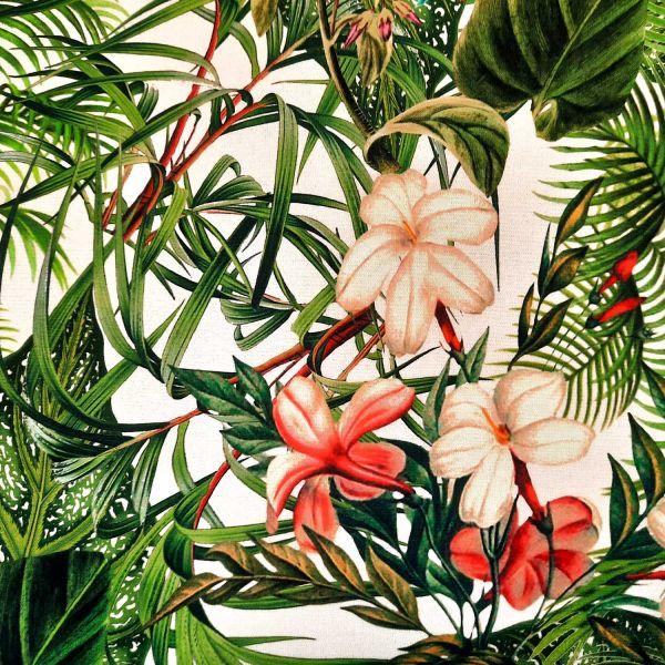 Stoff Baumwolle Percale Guinea Blätter Blüten Digitaldruck 0,5