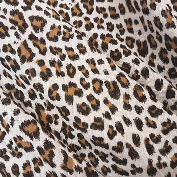 Stoff Meterware Baumwolle Musselin Leo weiß beige animal print