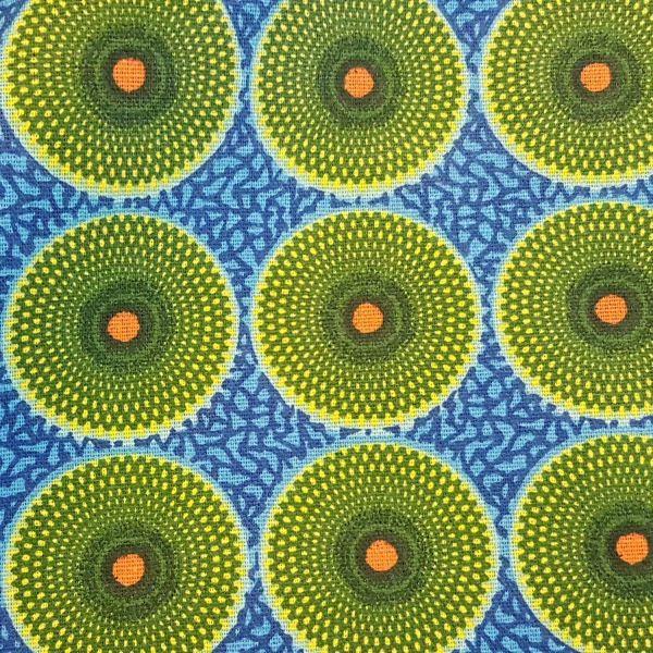 Stoff Baumwolle Batik Kreise blau grün orange afrikanisch
