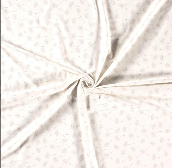 Stoff Meterware Jersey weiss beige Pusteblumen 0,5