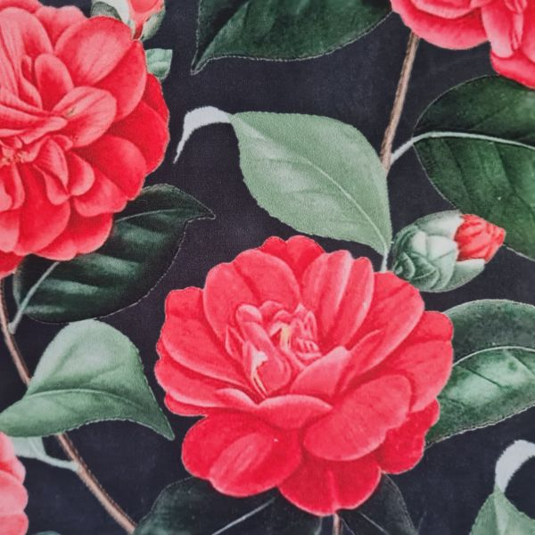 Stoff Meterware Dekosamt Velours Velvet Rosen purpur grün schwarz 0,5