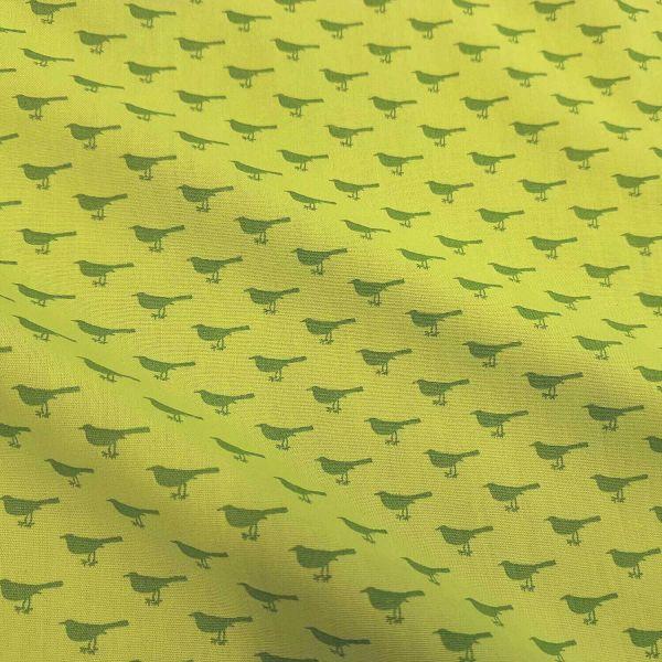 Stoff Meterware Baumwollstoff grün hellgrün Vogel Amsel Blusenstoff Dekostoff 0,5