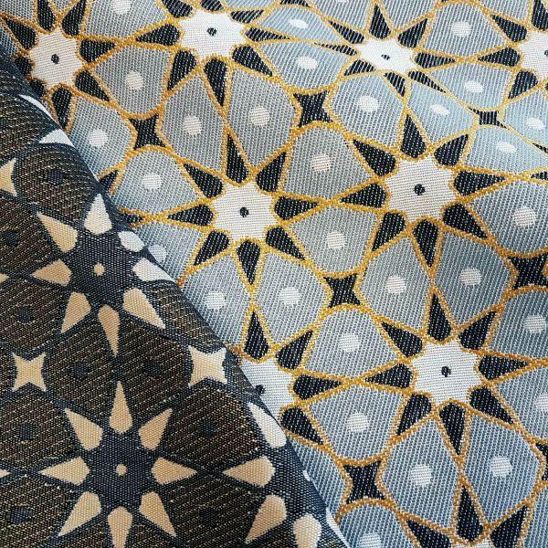 Stoff Meterware Mischgebewe Jacquard Sterne grau gelb beidseitig Seville 0,5