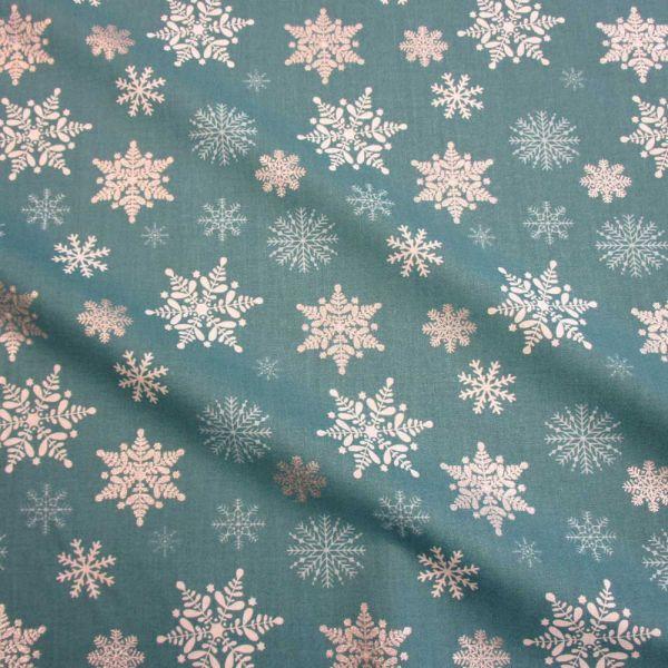 Stoff Baumwolle petrol silber Schneeflocken Eiskristalle