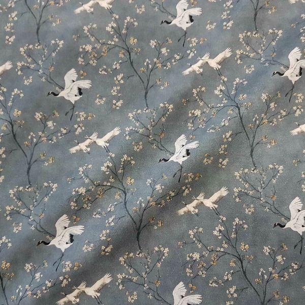 Stoff Meterware Baumwolle grau Kranich japanisch Kirschblüten grau Perkal