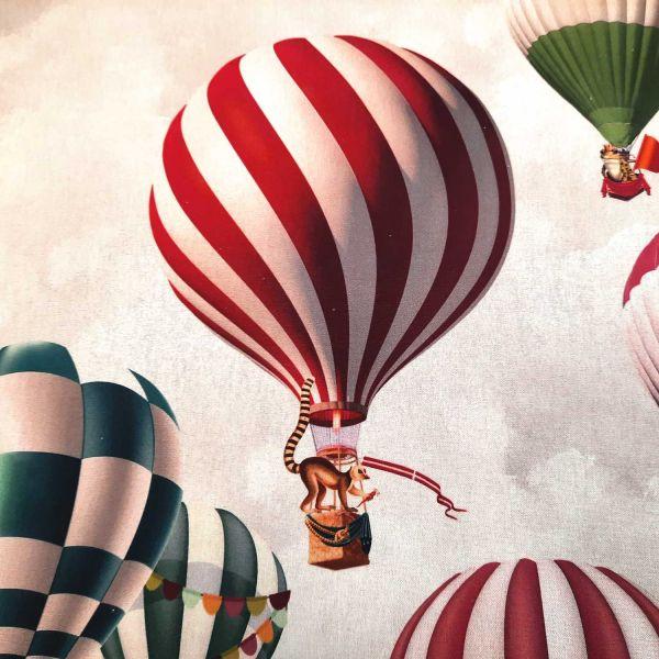 Stoff Baumwolle Heissluftballon Montgolfiere Digital 0,5