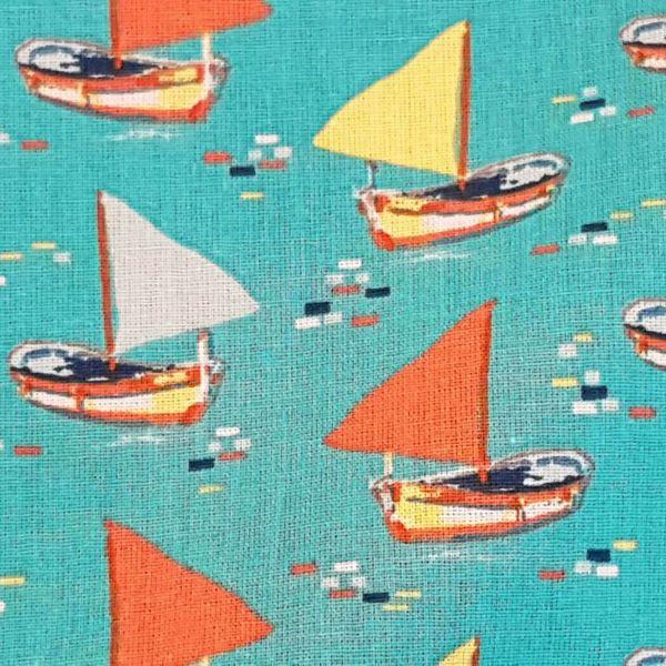 Stoff Meterware Baumwolle türkis Segelboot Italien nostalgisch 0,5