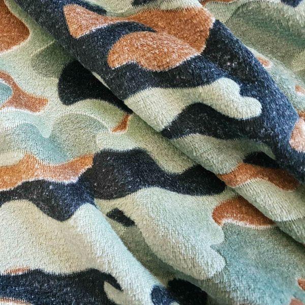 Stoff Meterware Wellness Fleece Softplüsch Camouflage Tarndruck grün braun schwarz
