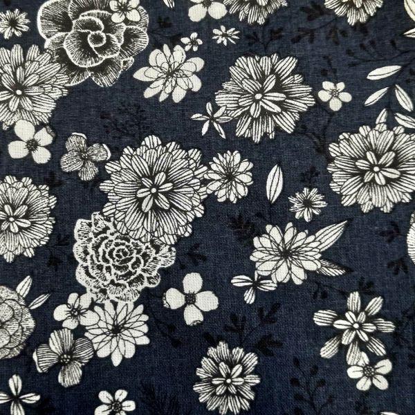 """Stoff Baumwolle Blumen """"Floral"""" tintenblau weiss schwarz 0,5"""