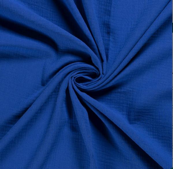 Stoff Baumwolle Musselin Mulltuch uni royalblau 0,5